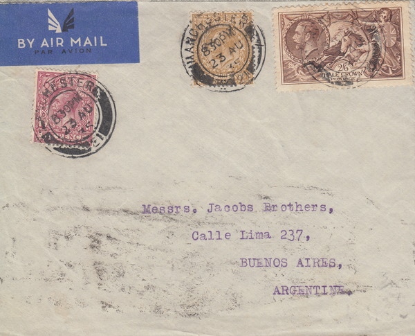 104808 - 1935 MAIL MANCHESTER TO ARGENTINE 2/6d SEAHORSE (SG450).