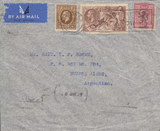 104817 - 1938 MAIL LONDON TO ARGENTINA 2/6D SEAHORSE (SG450).