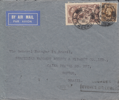 104826 - 1936 MAIL LONDON TO BRAZIL - TWO COVERS SHOWING THE FRENCH AND GERMAN ROUTES WITH DIFFERENT TRANSIT TIMES.