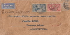 104919 - CIRCA 1930 MAIL LONDON TO ARGENTINA 5S AND 10S SEAHORSE PER GRAF ZEPPELIN.
