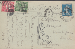 104985 - 1927 UNDERPAID MAIL FRANCE TO SUSSEX WITH KGV 1/2d (SG351) USED INSTEAD OF POSTAGE DUE.