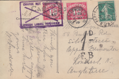 104997 - 1914 UNDERPAID MAIL PARIS TO LONDON.