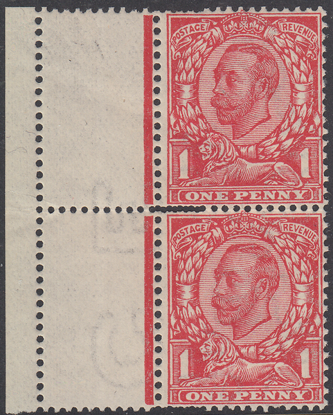 105085 - 1912 1D DOWNEY DOUBLE STRIKE OF PERFORATIONS (SG349).