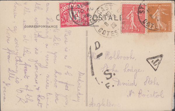 105283 - 1928 UNDERPAID MAIL FRANCE TO BRISTOL.