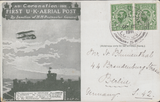 105659 - 1911 FIRST OFFICIAL U.K. AERIAL POST/LONDON POST CARD IN OLIVE-GREEN TO GERMANY.