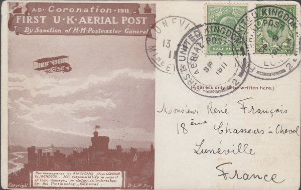 105662 - 1911 FIRST OFFICIAL U.K. AERIAL POST/LONDON POST CARD IN DARK-BROWN TO FRANCE.