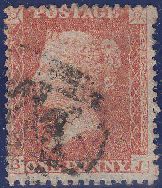 105801 - 1855 DIE 2 1D PL.5 MATCHED PAIR S.C.16 (SG21) AND L.C.14 PRINTING (SPEC C6) LETTERED BJ.