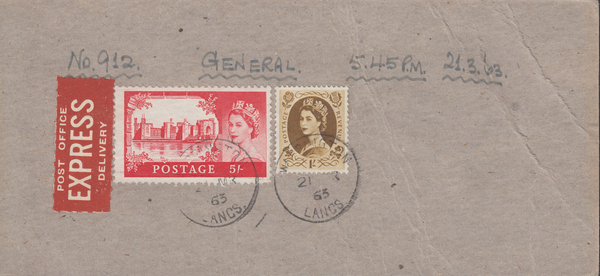 106006 - 1963 PARCEL TAG/POST OFFICE EXPRESS DELIVERY/5S CASTLE.