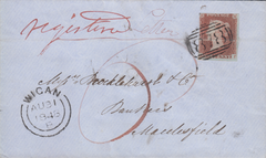 106186 - 1848 REGISTERED MAIL WIGAN TO MACCLESFIELD.