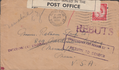 106250 - 1956 UNDELIVERED MAIL BIRMINGHAM TO THE USA.