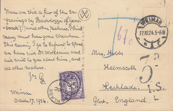 106278 - 1924 UNPAID MAIL GERMANY TO LECHLADE.