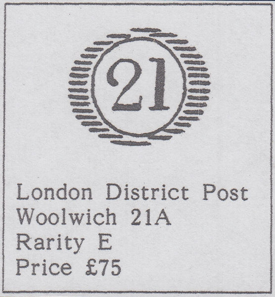 107301 - LONDON DISTRICT '21' NUMERAL OF WOOLWICH/PL.36 (PE)(SG40).