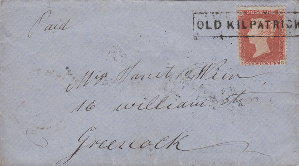 "107563 - ""OLD KILPATRICK"" TYPE VIII SCOTS LOCAL ON COVER (CO. DUMBARTON PARENT POST OFFICE GLASGOW)."