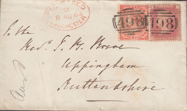 108187 - 1864 REGISTERED MAIL MANCHESTER TO UPPINGHAM.
