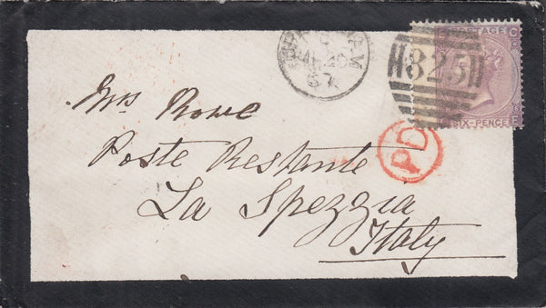 108195 - 1867 MOURNING ENVELOPE UPPINGHAM TO ITALY.