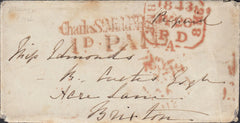 109080 - 1843 ENVELOPE WITH MALTESE CROSS USED TO OBLITERATE DATE STAMP ON REVERSE.