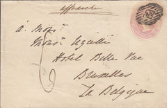 109368 - 1856 1D PINK LONDON TO BELGIUM/POSTAGE UNDERPAID.