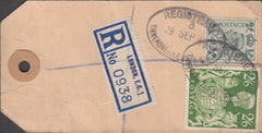 109682 - 1949 BANKER'S PARCEL TAG/KGVI 2/6 YELLOW-GREEN (SG476b).
