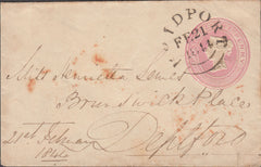 "109780 - 1844 DORSET ""BRIDPORT"" TOWN CANCELLATION ON 1D PINK ENVELOPE."