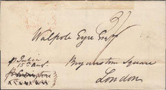 "109787 - 1831 DORSET/MARITIME/MAIL FROM ANTIGUA TO LONDON WITH STEP TYPE ""SWANAGE/SHIP LETTER"" HAND STAMP."