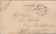 "109799 - 1845 DORSET ""POOLE"" TOWN CANCELLATION ON 1D PINK ENVELOPE."