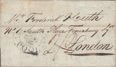 "109891 - 1814 DORSET/""SHIP LETTER/CROWN/POOL"" HAND STAMP ON MAIL CORUNA TO LONDON."