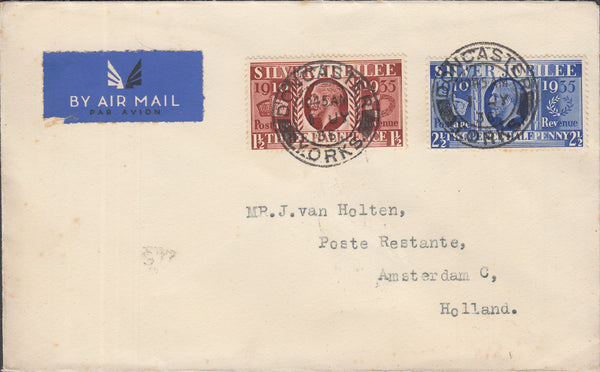 109899 - 1936 AIR MAIL DONCASTER TO HOLLAND/KGV SILVER JUBILEE ISSUE.