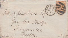 109953 - 1879 8D ORANGE (SG156)(DB) ON COVER EXETER TO CEYLON.