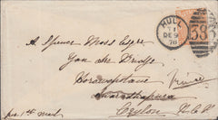 109964 - 1878 8D ORANGE (SG156)(BC) ON COVER HULL TO CEYLON.