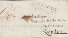 "110259 - 1835 ""INDIA LETTER WEYMOUTH"" ON MAIL CAPE TOWN TO LONDON."