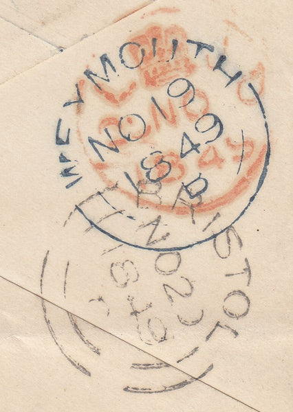 "110284 - ""873"" NUMERAL OF WEYMOUTH IN BLUE ON 1D PINK ENVELOPE."