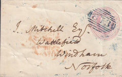 "110285 - ""873"" NUMERAL OF WEYMOUTH IN BLUE ON 1D PINK ENVELOPE."
