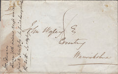 "110291 - 1840 ""INDIA LETTER WEYMOUTH"" HAND STAMP IN RED."