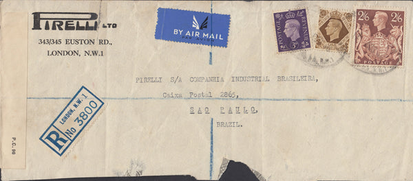 110464 - 1940 REGISTERED MAIL LONDON TO BRAZIL/2/6 BROWN (SG476).