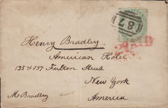 "111004 - 1859 TRANSATLANTIC MAIL BLANDFORD TO NEW YORK/""MARNHALL"" UDC/1S GREEN (SG72)."
