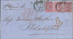 112762 1855 TRANSATLANTIC MAIL LIVERPOOL TO PHILADELPHIA/4D CARMINE (SG62) X 3/LIVERPOOL SPOON (RA57).