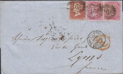 113288 1855 MAIL LONDON TO FRANCE/4D CARMINE (SG62) X 2 VERY EARLY USE/LATE FEE.