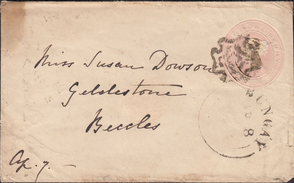 113465 1843 1D PINK ENVELOPE/DISTINCTIVE MALTESE CROSS OF NORWICH.
