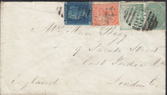 114311 1872 GB USED IN PERU ON COVER.
