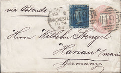 114365 1874 1D PINK ENVELOPE MANCHESTER TO GERMANY UPRATED WITH 2D BLUE (SG47).