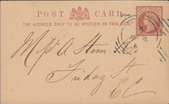 114816 LONDON HOSTER CANCELLATION ON ½D POST CARD.
