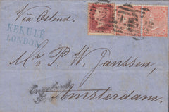 115266 1863 4D RED PL. 3 (SG80) WITH CONSTANT VARIETY 'DEFECTIVE LETTER K', STAMP CK ON COVER (SPEC J52d).