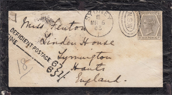 115398 1883 MOURNING ENVELOPE SYDNEY TO ENGLAND WITH UK 6D (SG160).