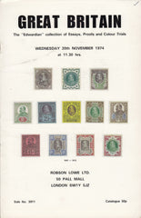 "115847 ""EDWARDIAN COLLECTION OF ESSAYS, PROOFS AND COLOUR TRIALS"" AUCTION CATALOGUE ROBSON LOWE NOVEMBER 1974."
