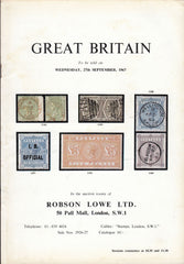 "115848 ""GREAT BRITAIN"" AUCTION ROBSON LOWE SEPTEMBER 1967."