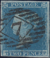 "116717 1849/51 2D BLUE PL.4 ""TF"" IN STATES 1 AND 2 (SG14/SG23)."