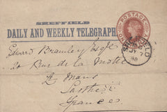 116881 1888 'SHEFFIELD DAILY AND WEEKLY TELEGRAPH' PART WRAPPER.