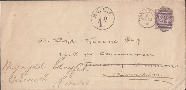 117260 1890 PARLIAMENTARY MAIL 'H.C.S.W. 1D' CIRCULAR TAX MARK OF THE HOUSE OF COMMONS ON ENVELOPE.