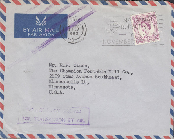118281 1963 AIR MAIL BRISTOL TO USA/'INSUFFICIENTLY PREPAID FOR TRANSMISSION BY AIR'.