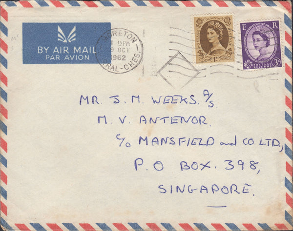 118298 1962 MAIL MORETON (CHESHIRE) TO SINGAPORE.